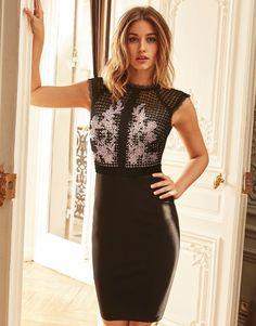 Lipsy London Applique Lace Bodycon Dress