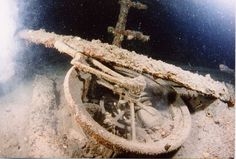 The ship's telegraph on the wreck of the Lusitania.