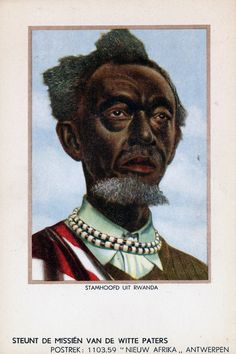 Africa | The Chief.  Rwanda || Scanned old postcard;  Mission of the White Fathers