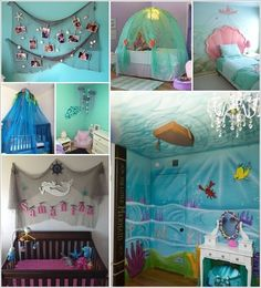 A themed kids room looks unique and cute at the same time. There are a lot of different themes and we thought of bringing you ideas from the world under Mermaid Room Decor, Mermaid Wall Art, Mermaid Bedroom, Ocean Bedroom Kids, Girls Bedroom, Sea Bedrooms, Classroom Decor Themes, Toddler Rooms, Bedroom Themes