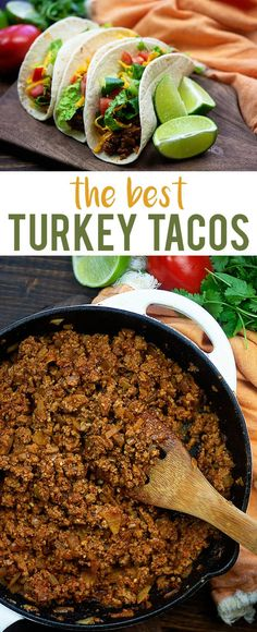 taco recipes Ground turkey tacos are a little lighter on the fat content but packed with flavor! This turkey taco recipe is a family favorite in my house and I bet it will be in yours too. Made from scratch and oh so good! Healthy Ground Turkey, Ground Turkey Tacos, Ground Turkey Seasoning, Easy Ground Turkey Recipes, Best Turkey Taco Recipe, Turkey Meat Recipes, Mexican Food Recipes, Healthy Recipes, Dinner Recipes