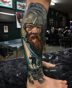 Amazing realistic color tattoo style of Gimli motive from The Lord of The Ring movie done by tattoo artist Ben Kaye Hobbit Tattoo, Lotr Tattoo, Arm Tattoo, Tolkien Tattoo, Great Tattoos, Beautiful Tattoos, Tattoos For Guys, Ring Tattoos, Body Art Tattoos