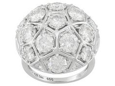 Moissanite Fire(Tm) 6.40ctw Diamond Equivalent Weight Round Platineve(Tm) Dome Ring
