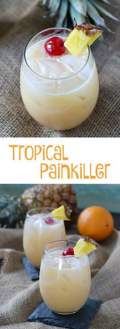 Drinks Recipes Fun and fruity Tropical Painkiller is like a Caribbean getaway in a glass Refreshing Drinks, Yummy Drinks, Healthy Drinks, Fruity Alcohol Drinks, Alcoholic Beverages, Fruity Mixed Drinks, Best Mixed Drinks, Drinks With Orange Juice, Drinks With Coconut Milk