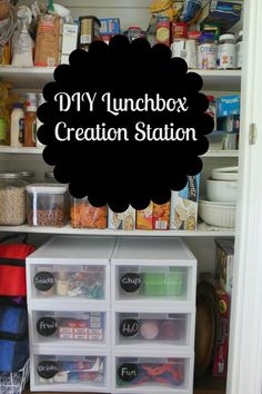 Organized lunches for the kiddos!  Self serve. organ idea, kid lunches, lunchbox creation, creation station, pool snacks, pantry organization, diy lunchbox, school snacks, lunch station