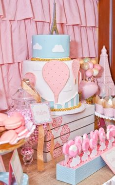 What a fantastic cake at a Hot Air Balloon party!  See more party ideas at CatchMyParty.com!  #partyideas #balloon