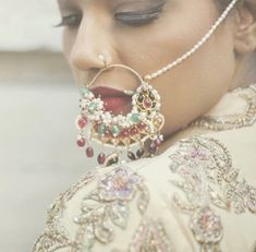 Bridal indian nose pins and nose rings. Nath Nose Ring, Nose Rings, Nose Ring Designs, Indian Nose Ring, Party Looks, Womens Fashion For Work, Indian Jewelry, Bridal Jewelry, Jewelery