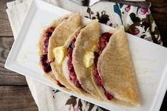 Roasted Blueberry and Rhubarb Crepes with Honey and Butter from Naturally Ella