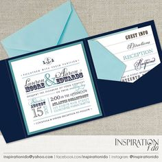 Nautical Wedding Invitations, Beach Wedding Invitations, Navy & Teal, Navy & Light Blue, Pocket Invitations