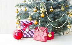 Download wallpapers New Year tree, gifts, Christmas, golden Christmas balls, New Year
