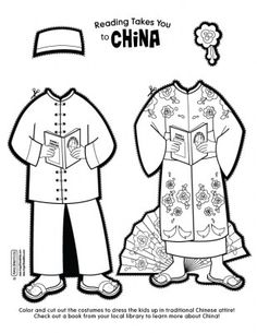 Chinese Paper Dolls Cut Outs Printable - Bing images Chinese New Year Activities, New Years Activities, Coloring Books, Coloring Pages, Paper Dolls Printable, Printable Templates, Free Printable, Summer Camp Crafts, Chinese New Year Crafts