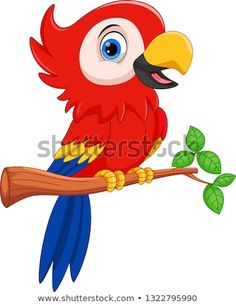 Cute Parrot Cartoon Stock Vector (Royalty Free) 1322795990 - Stock Photo and Image Portfolio by Muhammad Desta Laksana Cartoon Cartoon, Parrot Cartoon, Cartoon Birds, Cartoon Drawings, Art Drawings For Kids, Easy Drawings, Art For Kids, Pottery Painting Designs, Paint Designs