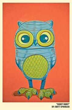 Robot Owl Print by mattspangler on Etsy. $20.00, via Etsy.