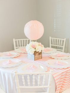 Chic Hot Air Balloon Baby Shower Hot Air Balloon Guest Table from a Shabby Chic Hot Air Balloon Baby Shower on Kara's Party Ideas