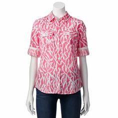 c77e3f6792e1f1 Croft   Barrow® Printed Roll-Tab Shirt - Women s