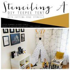 Cutting Edge Stencils shares a DIY stenciled teepee for a reading nook using the Little Diamonds Stencil. http://www.cuttingedgestencils.com/little-diamonds-pattern-stencil-for-walls.html  #cuttingedgestencils #stencils #diy #kidsrooms #decorating #stenciling #teepee #decorating