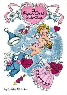 A Paper Doll Valentine - # Valentine Cupid, Valentine Day Love, Valentine Ideas, Vintage Valentine Cards, Vintage Cards, Paper Toys, Paper Crafts, Vintage Playmates, Vintage Paper Dolls