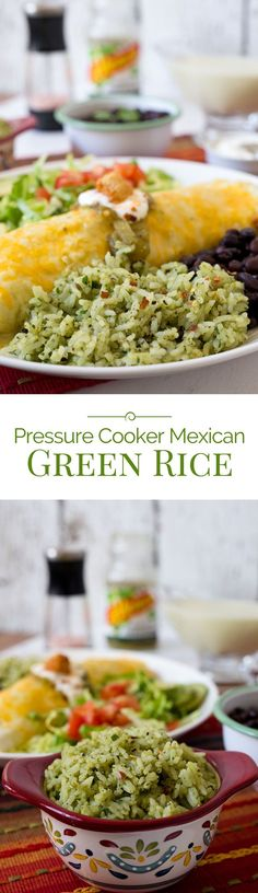 This Pressure Cooker Mexican Green Rice made with avocado cilantro and green salsa is a fabulous alternative to traditional Spanish rice. - Rice Cooker - Ideas of Rice Cooker Pressure Cooking Today, Pressure Cooking Recipes, Slow Cooker Pressure Cooker, Instant Pot Pressure Cooker, Mexican Food Recipes, Real Food Recipes, Vegetarian Recipes, Rice Cooker Recipes, Spanish Rice