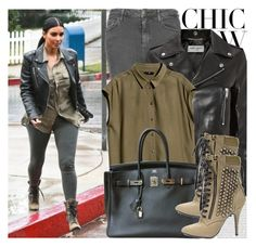 """1761. Celebrity Style: Kim Kardashian"" by chocolatepumma ❤ liked on Polyvore featuring Oris, Balmain, Topshop, Yves Saint Laurent, H&M, Hermès, Giuseppe Zanotti, leatherjacket, hermes and kimkardashian"