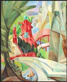 Mary Swanzy (Irish, Cubist Landscape with Red Pagoda and Bridge, Oil on canvas, 76 x cm. Landscape Art, Landscape Paintings, Landscapes, Cubist Art, Irish Art, Arts Ed, Art Auction, Art World, Cool Artwork