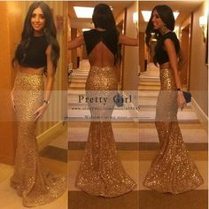 2015 New Gold Sequined Black Two piece Backless Mermaid Long Evening Dresses Low Back Sexy Party Dress Prom Dresses vestidos