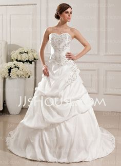 Wedding Dresses - $226.99 - A-Line/Princess Sweetheart Chapel Train Taffeta Wedding Dresses With Embroidery Beadwork (002012765) http://jjshouse.com/A-Line-Princess-Sweetheart-Chapel-Train-Taffeta-Wedding-Dresses-With-Embroidery-Beadwork-002012765-g12765