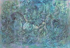 """Hunting Party II - Acrylic on Wood, 44 x 30"""", 2016. JAMES JEAN"""