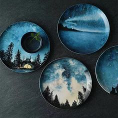 Starry Sky Porcelain Plates from Apollo Box Bring your best to the table with this set of Starry Sky Porcelain plates. Shop for artistic dishware fresh from the marketplace at the Apollo Box. Painted Ceramic Plates, Ceramic Painting, Ceramic Pottery, Ceramic Art, Hand Painted Pottery, Pottery Teapots, Pottery Plates, Hand Painted Ceramics, Pottery Painting Designs