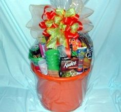 summer gift basket - towel, sunsceen, toys, margarita mix, glasses, lotion, towel