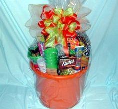 summer gift basket - towel, sunsceen, toys, margarita mix, glasses, lotion, towel