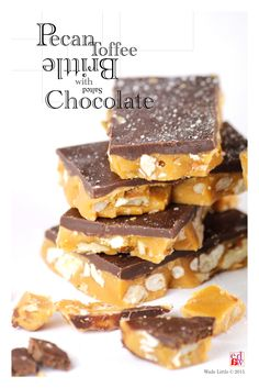 Pecan Toffee Brittle with Salted Chocolate Ingredients Butter – Salted - 225 grams Sugar – 210 grams Salt – pinch Pecans – 100 grams Dark Chocolate – 200 grams Coarse Sea Salt – to top as desired M...