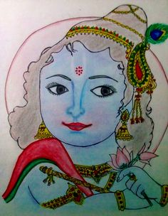 Color Pencil Drawing – Hindu God Krishna