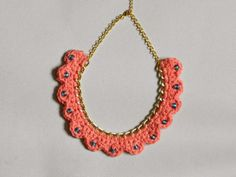 Beautiful Crocheted Coral and Chain Scalloped by polkadotdreaming, Crochet Jewelry Patterns, Crochet Accessories, Crochet Bracelet, Crochet Earrings, Belt Purse, Fancy Earrings, Crochet Home, Crochet Projects, Handmade Jewelry