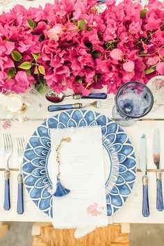 Bougainvillea Inspired Greek Wedding Wedding Photography by Anna Roussos Grecian Wedding, Blue Wedding, Wedding Table, Wedding Flowers, Dream Wedding, Santorini Wedding, Greece Wedding, Italy Wedding, Bougainvillea Wedding