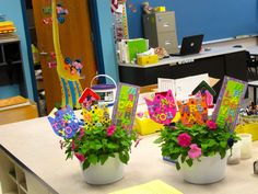 End of the year teachers gift. my daughter helped decorate the flowers, then we stuffed gift cards in them