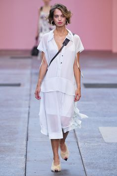 By Malene Birger Copenhagen Spring 2017 Collection Photos - Vogue  oooh let's deconstruct this...blouse with a deep hem band/hip yoke and a drawstring finished hood, over a swishy skirt with ruffles. All in a semi-sheer white crepe-y georgette...mmmmmm, yummy