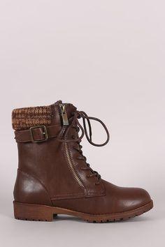 eff708130 Bamboo Sweater Cuff Combat Lug Boots. Botines De Caña CortaZapatosCanasBotas  ...