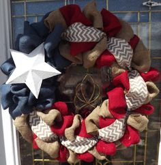 4th of July Burlap Wreath - Natural, red, and Blue Burlap Wreath, Rustic Wreath, Patriotic, Flag Wreath , Independence Day, Door Wreath on Etsy, $39.00