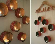 Old Cans And A Hanger Turned Into Candle Holders