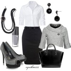 Business casual - minus the shoes. Do classic black leather pumps instead
