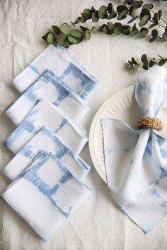 Hand dyed linen dinner Set of Natural dye dinner napkins. Linen Duvet, Linen Fabric, Dinner Sets, Dinner Table, Thanks For The Gift, Indigo Dye, Linen Napkins, Natural Linen, Fabric Weights