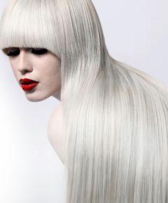 Shiny white hair