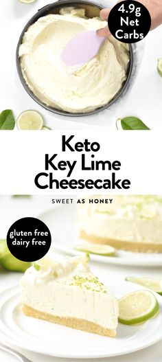 This no-bake keto key lime cheesecake recipe is an incredibly creamy cheesecake with refreshing tangy lime flavor. A melt-in-your mouth dessert made with only few simple ingredients to impress all your guest and fix all your sweet cravings with no guilt! Key Lime Cheesecake Recipe Easy, Lime Dessert Recipes Easy, Lime Cheesecake No Bake, Key Lime Pie Recipe No Bake, Key Lime Desserts, Keylime Pie Recipe, Keto Dessert Easy, Keto Desserts, Keto Recipes