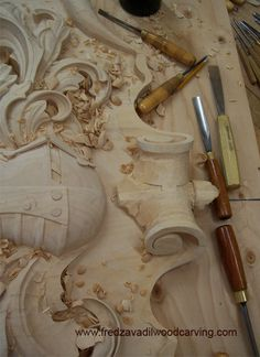 Carved family crest, basswood carving