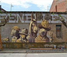 Harry James Paris for Gargarfestival in Penelles, Spain, 2018 Thierry Noir, Mademoiselle Maurice, Street Wall Art, Powerful Pictures, Fantasy Warrior, Street Artists, Banksy, Urban Art, Art Drawings