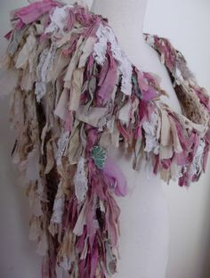 recycled sari silk scarf bohemian Boa style off white cream beige pink handknitted one of a kind original design by plumfish