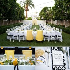 One big table for everyone headed by his & hers yellow chairs. #wedding #viceroy by lacey