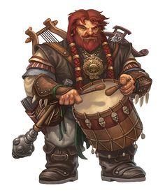 Dwarf male bard skald drum harp crossbow mace red hair beard