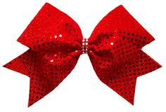 Cheer Bows Etc | Cheerleading Bows - Rhinestone Accent Sequins Bow , $9.50 (http://www.cheerbowsetc.com/rhinestone-accent-sequins-bow/)