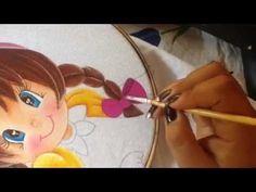 Pintura en tela niña berenjena # 2 con cony - YouTube